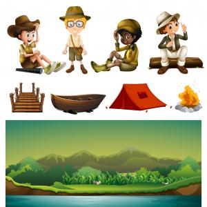 Relaxing Camping Vector: Photostock Vector Two Travel Banners With Space For Text Vector Flat Design Horizontal Layout Woman Relaxing In Campin