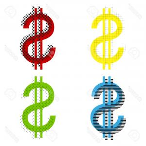 Blue Dollar Sign Vector: Photostock Vector United States Dollar Sign Vector Yellow Red Blue Green Icons With Their Black Texture At White Backg