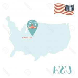 Vector Map Saint-Louis: Photostock Vector Usa Map With Saint Louis Pin Travel Concept Vector Illustration