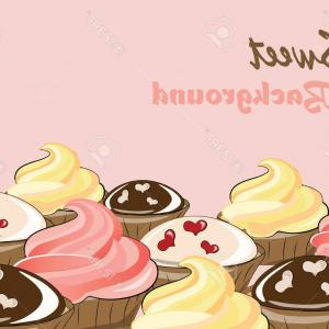 Vector Vanilla Cream: Photostock Vector Vanilla Cream And Chocolate Cupcakes Background