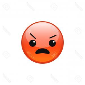 Angry Emoji Vector Icons: Photostock Vector Vector Angry Pouting Grumpy Mad Red Emoji Emoticon Face Icon Isolated On White Background