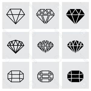 Black Diamond Vector Clip Art: Photostock Vector Vector Black Diamond Icon Set On Grey Background