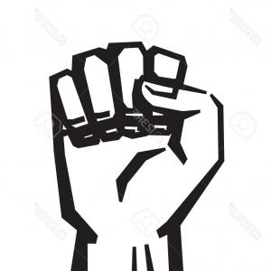 Black Power Fist Vector: Isolated Vector Illustration Raised Fist Set