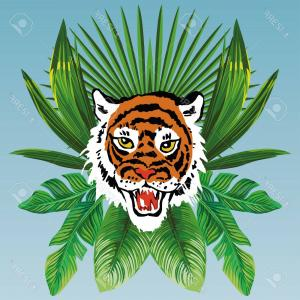 Green Tiger Vector: Abstract Watercolor Pattern Tiger Floral Colorful