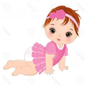 Princess Baby Girl Vector: Photostock Vector Vector Cute Baby Girl Crawling Vector Baby Girl Baby Girl Vector Illustration