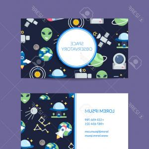 Flat Vector Icons Business Card: Photostock Vector Vector Flat Space Icons Business Card Template For Observatory Illustration Isolated