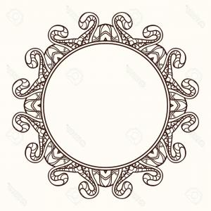 Photostock Vector Frame In Shape Of A Circle Ornate Element For Design Vintage Round Linear Orname