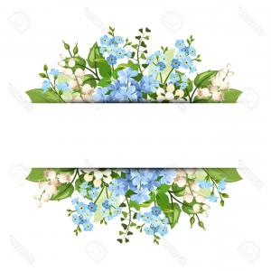 Green Flower Vector Designs: Photostock Vector Vector Horizontal Background With Blue And White Flowers And Green Leaves