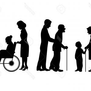 Stick Family People Silhouettes Vector: Photostock Vector Vector Illustration Of A Elderly People Silhouettes