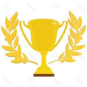Gold Trophy Vector: Photostock Vector Vector Illustration Of Golden Trophy Cup For First Place With Laurel Wreath Trophy Icon Sport Award