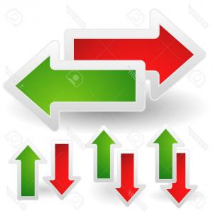 Up And Right Arrows Vector: Photostock Vector Vector Illustration Of Horizontal And Vertical Arrows In Red And Green Left Right And Up Down Arrows