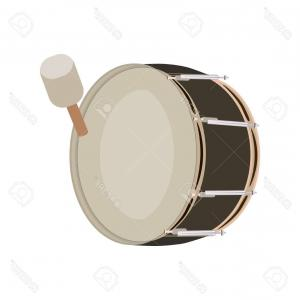 Kick Drum Vector: Drum Simple Black Style Isolated On