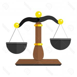 Lawyer Scale Vector: Cartoon Justice Scale Law Symbol Vector