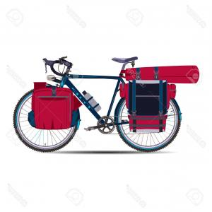 Race Car Grill Vector: Photostock Vector Vector Illustration Of Touring Bike With Bikepacking Bags And Tent In Case Road Racing Bicycle And B