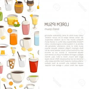 Teas Drinks Vector: Photostock Vector Hot Drinks Icons Set Cocoa With Marshmallows Tea Coffee Hot Chocolate Mulled Wine And Punch With Fru