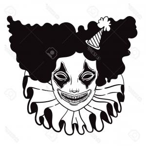 Evil Clown Vector Art: Photostock Vector Vector Poster With An Evil Clown Linear Illustration Of Halloween Scary Clown Maniac Of Horror