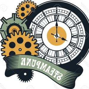 Vector Mechanical Clock Wheels: Watch Parts Clock Mechanism With Cogwheels Vector