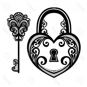 Heart Lock Vector: Royalty Free Stock Images Heart Lock Key Illustration Keyhole Image