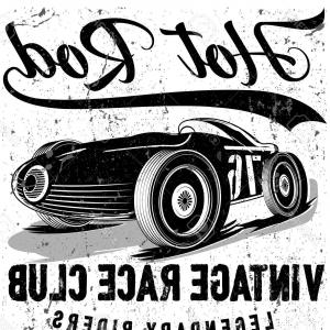 Old School Car Vector: Stock Illustration Vector Race Car Print
