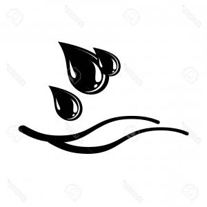 Water Vector Black: Photostock Vector Water Drops And Waves Icon Black And White Illustration