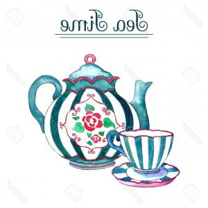 Teapot And Cup Vector: Photostock Vector Watercolor Teapot And Cup On The White Backgrounds Vector Illustration