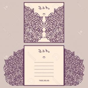 Printable Laser Cut Wedding Invitation Template Vector
