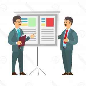 Vectorman Bosses: Photostock Vector Whiteboard With Text And Data Vector Man Giving Presentation On Seminar Boss Listening To Orator And