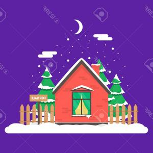 Christmas House Vector Free: Photostock Vector Winter Night Scene With House Christmas Trees And Snowfall Holiday Frozen Background For Decoration