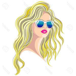 Vector Blonde Poofy Hair: Photostock Vector Woman Portrait Vector Blonde Girl With Long Hair Wearing Sunglasses