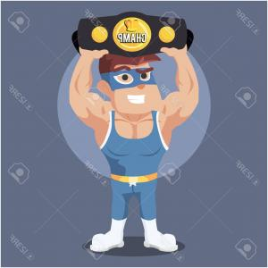 Vector Wrestling Audience: Photostock Vector Wrestler Holding Champion Belt