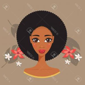 Black Woman Stock Vector: Black Woman Face African American Girl Avatar Gm