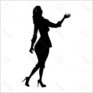 Young Woman Silhouette Vector: Young Woman Head Silhouette In A Hat Vector