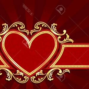 Heart Shaped Swirls Vector: Photostylish Horizontal Red Banner With Heart Shape And Metallic Swirls Graphics Are Grouped And In Sever