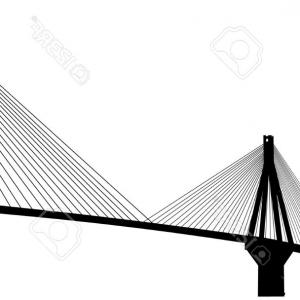 Suspension Bridge Vector: Building Of Suspended Bridge Vector