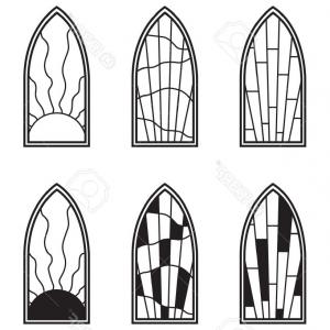 Free Stock Vector Art: Photovector Art Depicting Isolated Stained Glass Window
