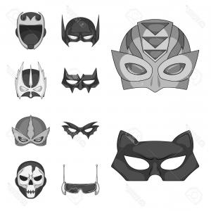 Batman Mask Sketch Vector: Photovector Design Of Hero And Mask Logo Set Of Hero And Superhero Vector Icon For Stock