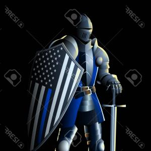 Warrior Thin Blue Line Vector: Ancient Warrior Symbol Concept Security Power