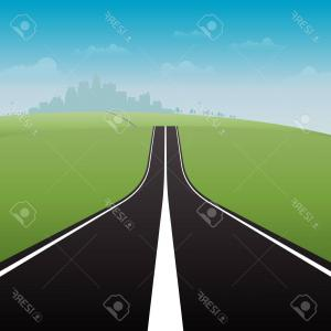 Vector Long Road: A Long Road With A Banner At The End