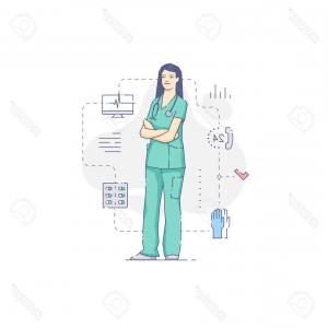 Health Care Scrub Uniform Vector Template: Photovector Illustration Of Woman Medical Nurse In Green Uniform With Stethoscope