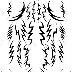 Vector Lightning Bolt Tribe: Lightning Bolt Doodle Hand Drawn Vector