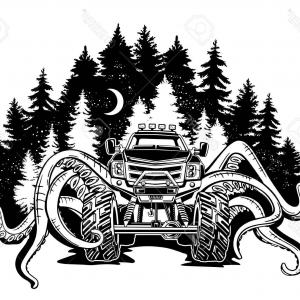 Monster Truck Silhouette Vector: Photovector Monster Truck With Tentacles Of The Mollusk And Forest Landscape Mystical Animal Car Tattoo A
