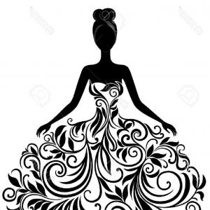 Fashon Shows Vectores: Photovector Silhouette Of Young Woman In Elegant Wedding Dress