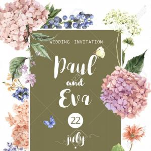 Floral Vector Invitation: Photovintage Floral Vector Wedding Invitation With Blooming Hydrangea And Garden Flowers Botanical Natur