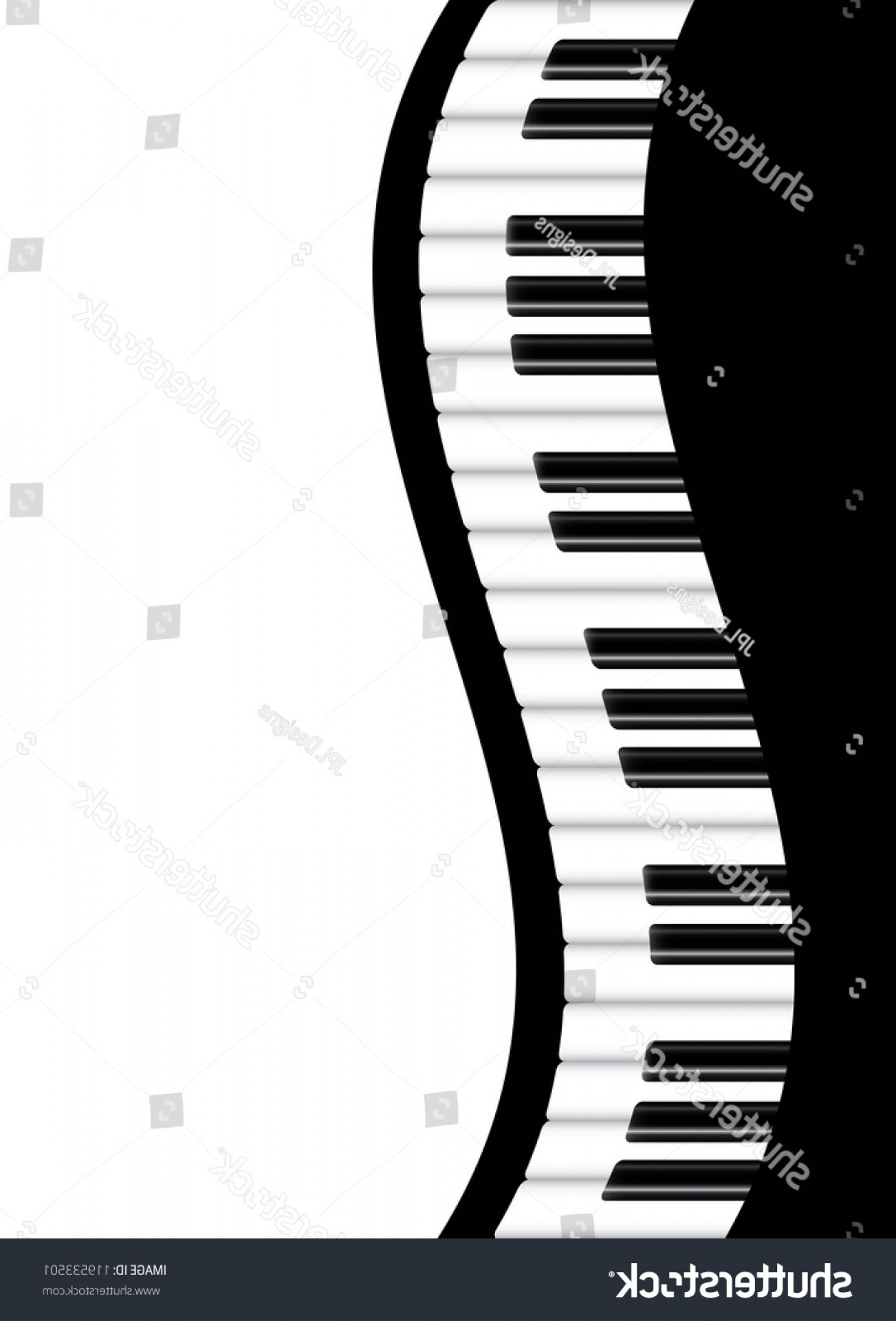 Musical Keyboard Vector: Piano Keyboards Wavy Border Background Illustration