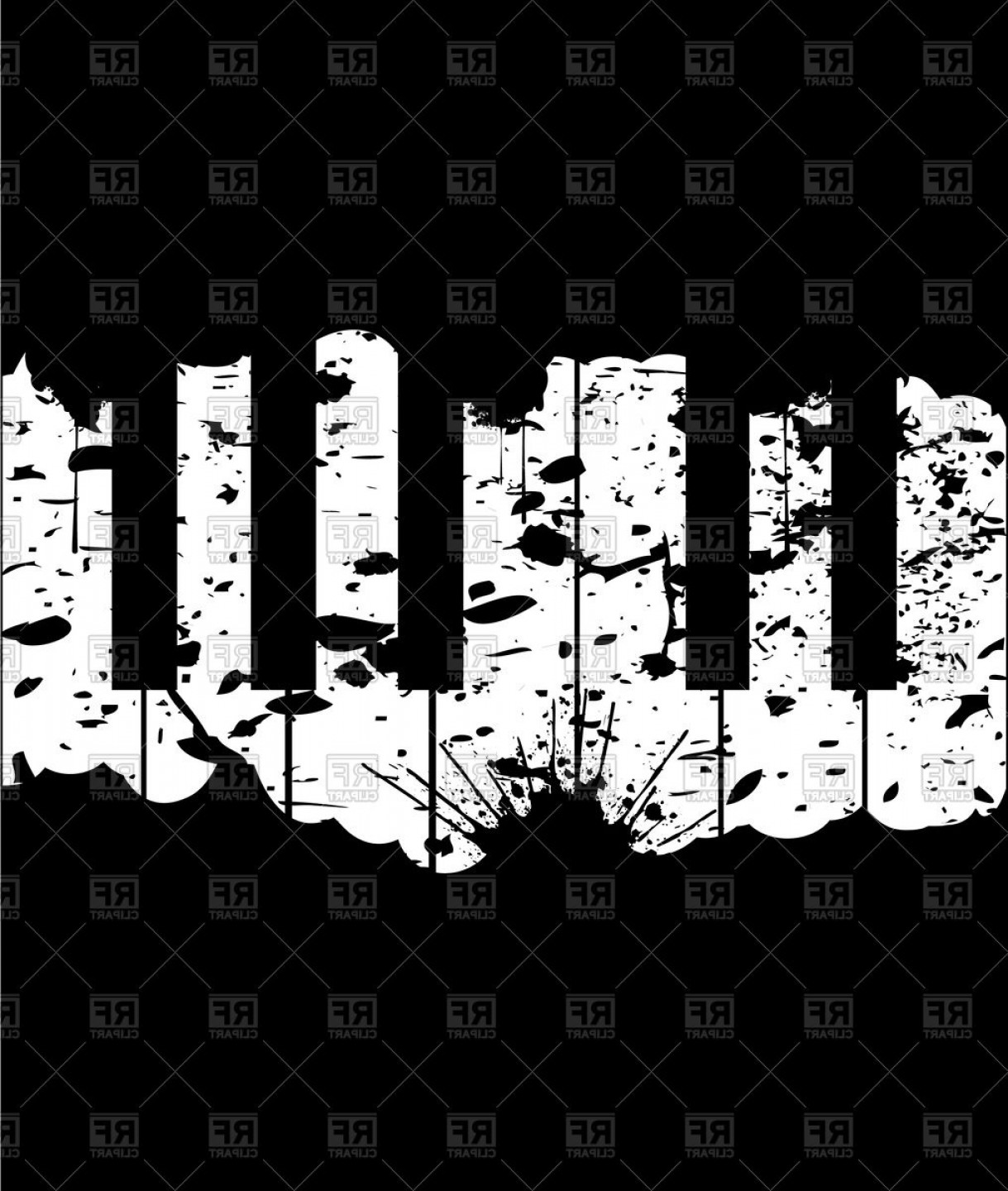 Grunge Background Vector Graphic: Piano Keys Grunge Background Vector Clipart