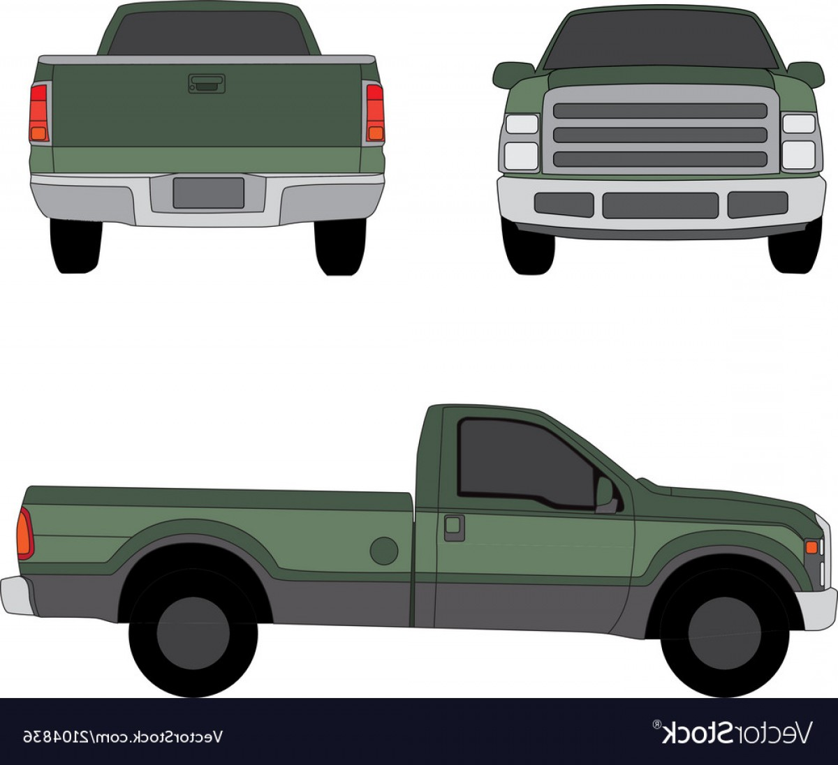 Vector Pick Up: Pick Up Truck Green Three Sides View Vector