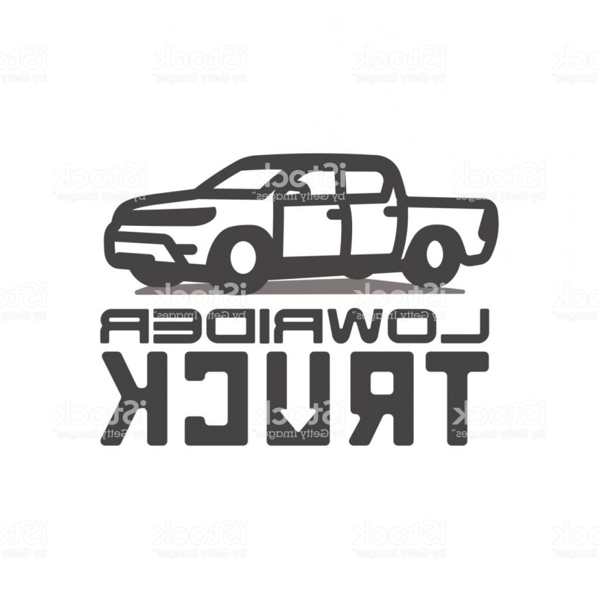 Lowrider Vector: Pickup Truck Lowrider Logo Template Vector Illustration Gm