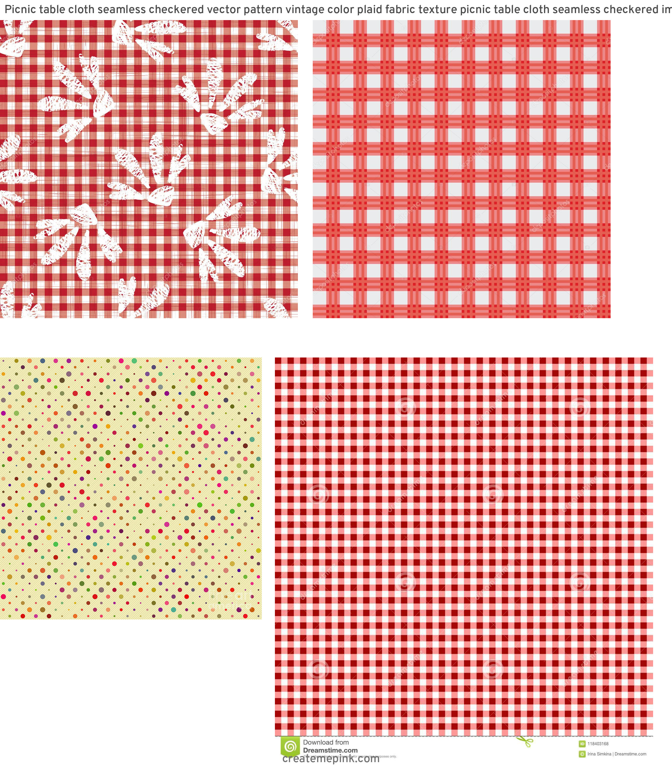 Picnic Cloth Vector: Picnic Table Cloth Seamless Checkered Vector Pattern Vintage Color Plaid Fabric Texture Picnic Table Cloth Seamless Checkered Image