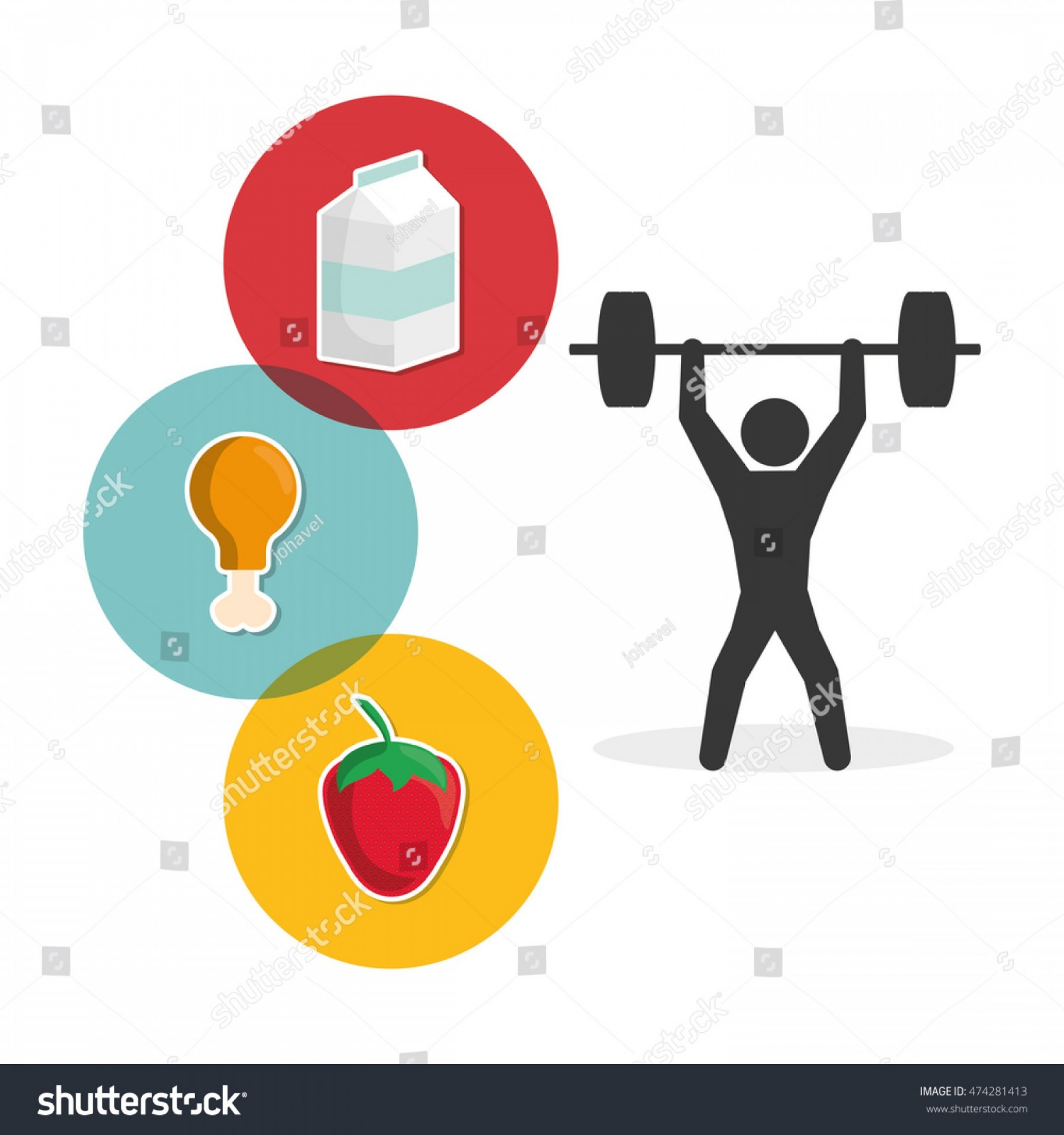 Weight Lifting Vector Graphics: Pictogram Weight Lifting Milk Strawberry Chicken