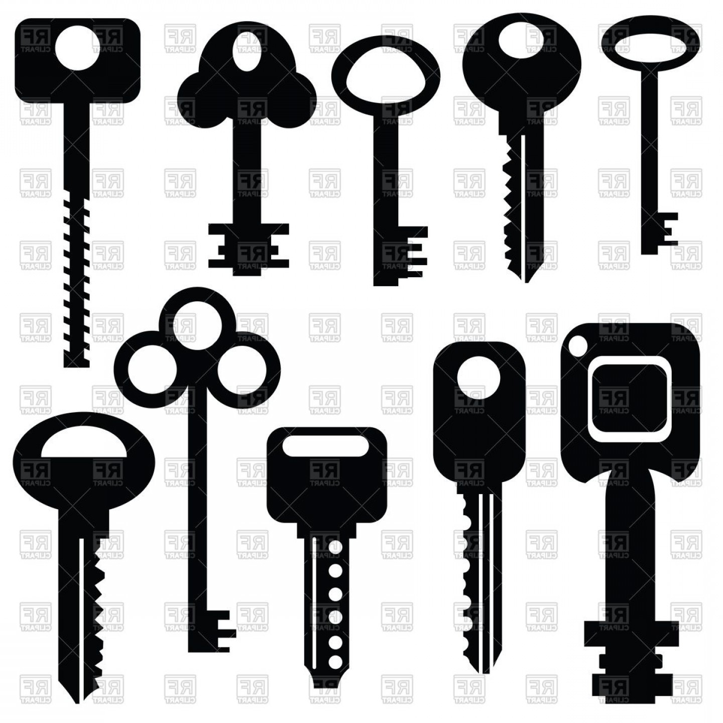Old Key Vector: Pictograms Silhouettes Of Modern And Old Keys Vector Clipart